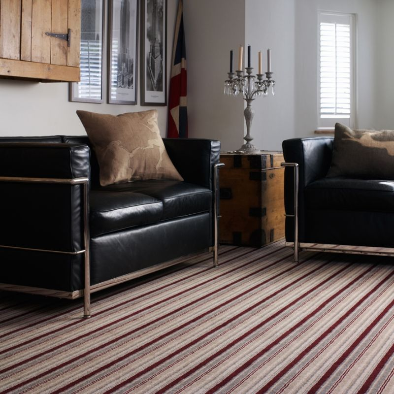 Traditional Colours With A Modern Pattern Lovely Striped Carpet Lounge Interior Living Room Carpet Patterned Carpet Textured Carpet