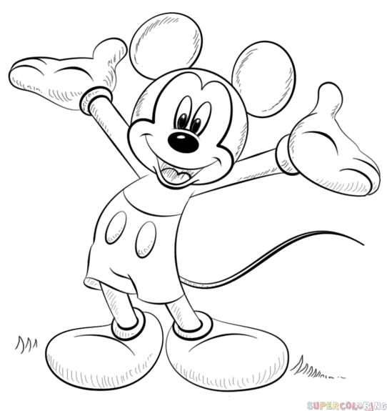 How to draw Mickey Mouse step by step. Drawing tutorials for kids and beginners.