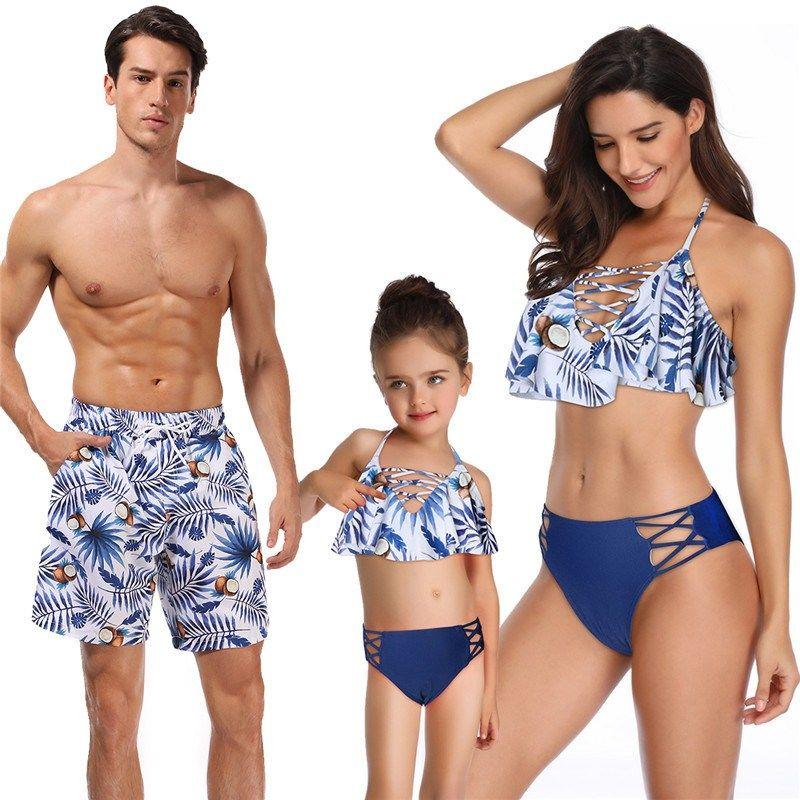Family Matching Swimwear Mother Daughter Dad Son Bikini Bathing Suits Swimsuits