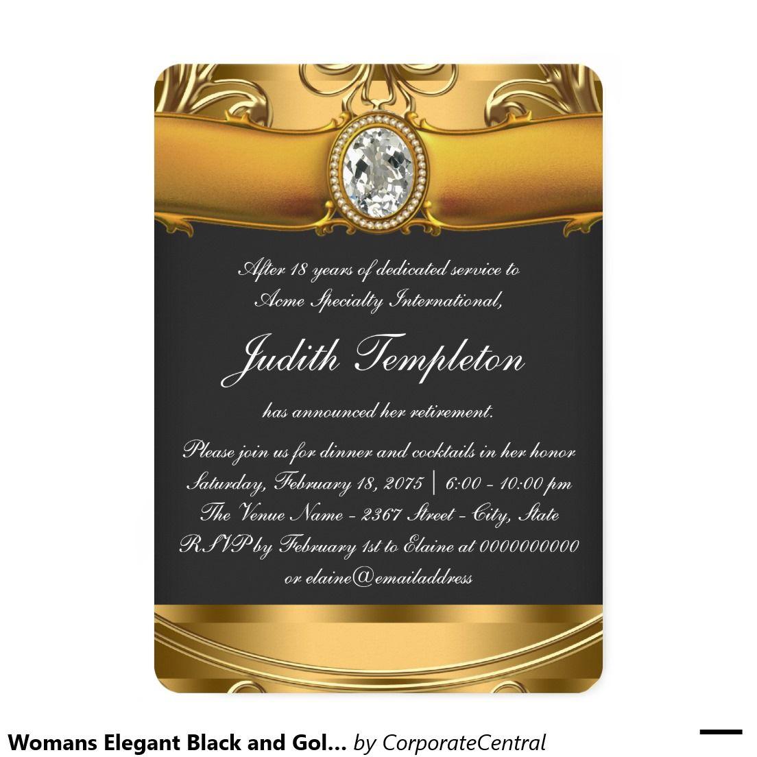 Womans Elegant Black and Gold Retirement Party Invitation ...
