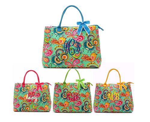 Monogrammed Quilted Vera Bradley Inspired Bird Ellie Overnight Bag ... : quilted monogrammed tote bags - Adamdwight.com