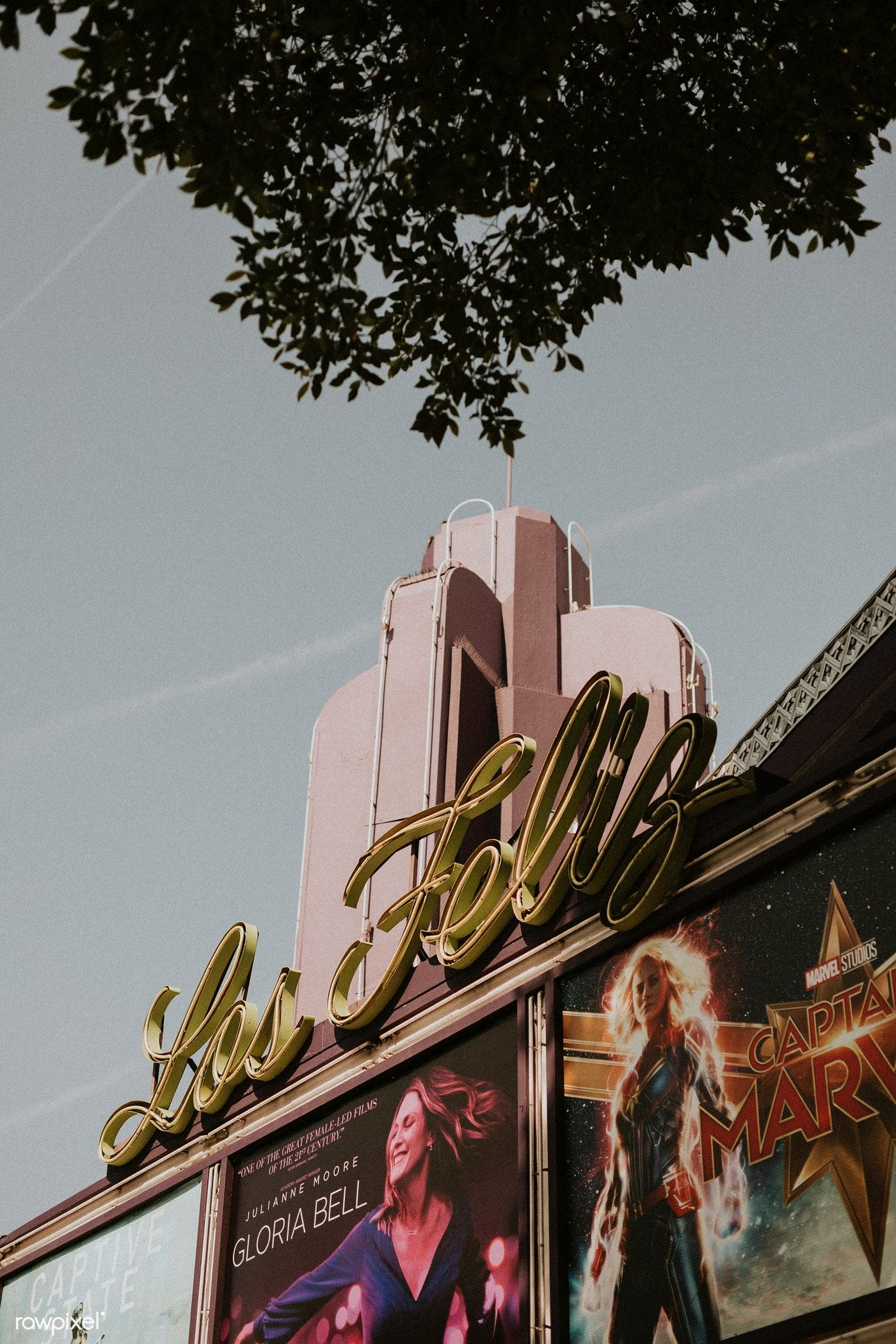 Art deco movie theater in los angeles free image by