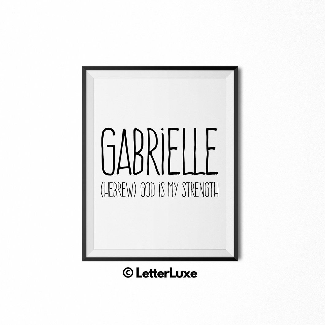 Gabrielle name meaning art nursery printable babies and nursery gabrielle baby name art new baby gift letterluxe name meaning negle Gallery
