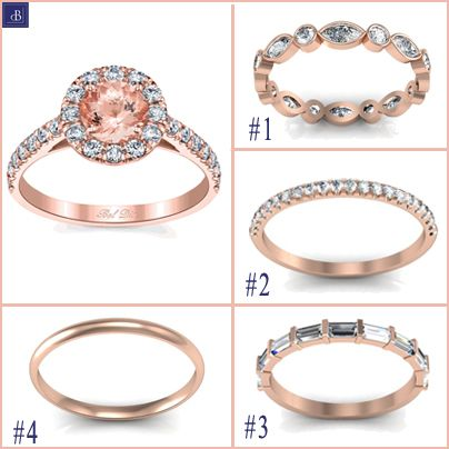 types of rose gold wedding bands for a morganite halo engagement ring