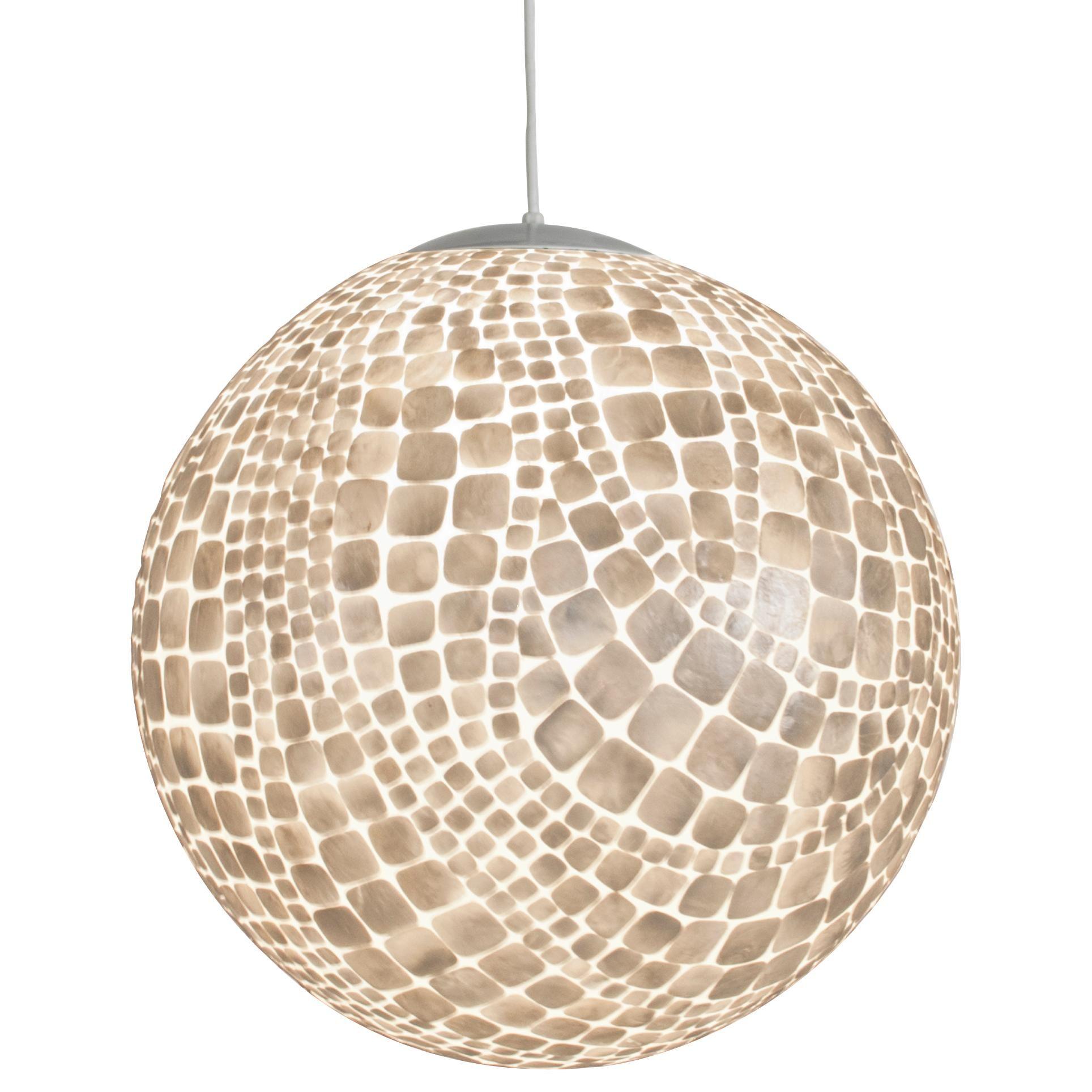 croc capiz shell ball pendant by worlds away photos show item lit