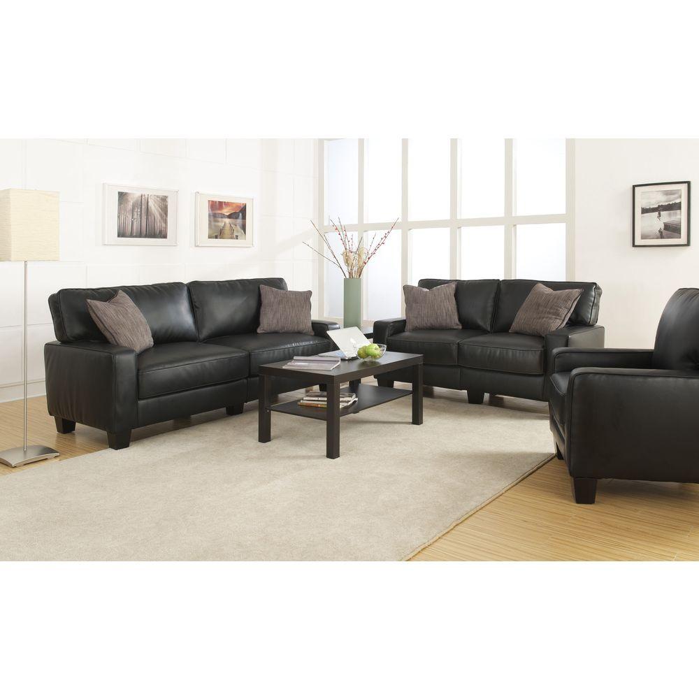 Serta Santa Rosa Collection Smooth Black Bonded Leather