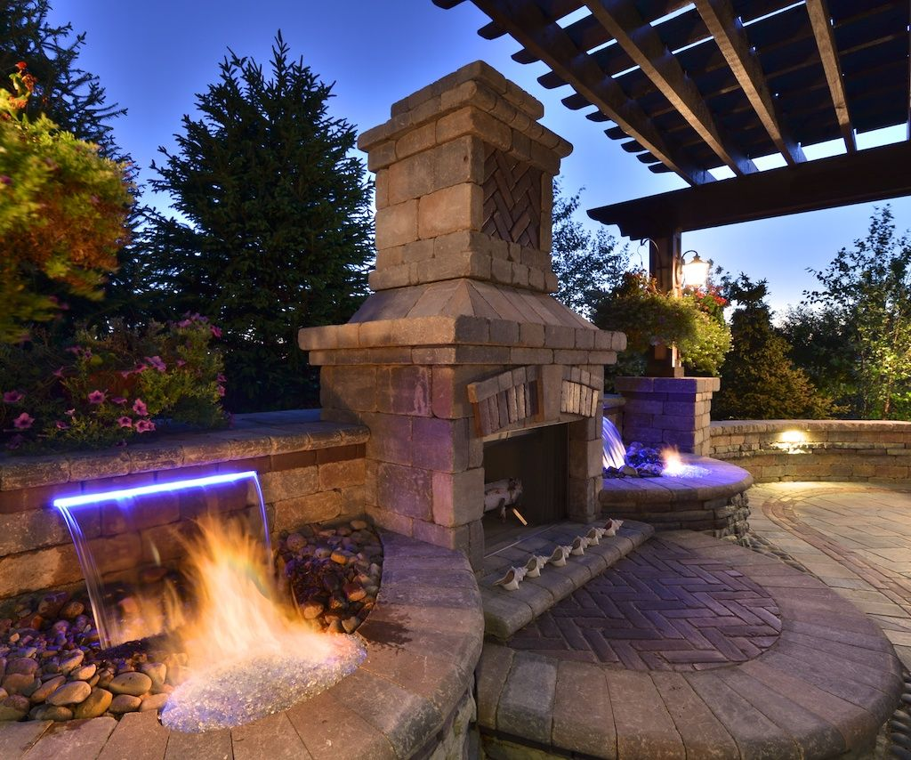 Outdoor Fireplace With Water Feature Fountains Outdoor Backyard