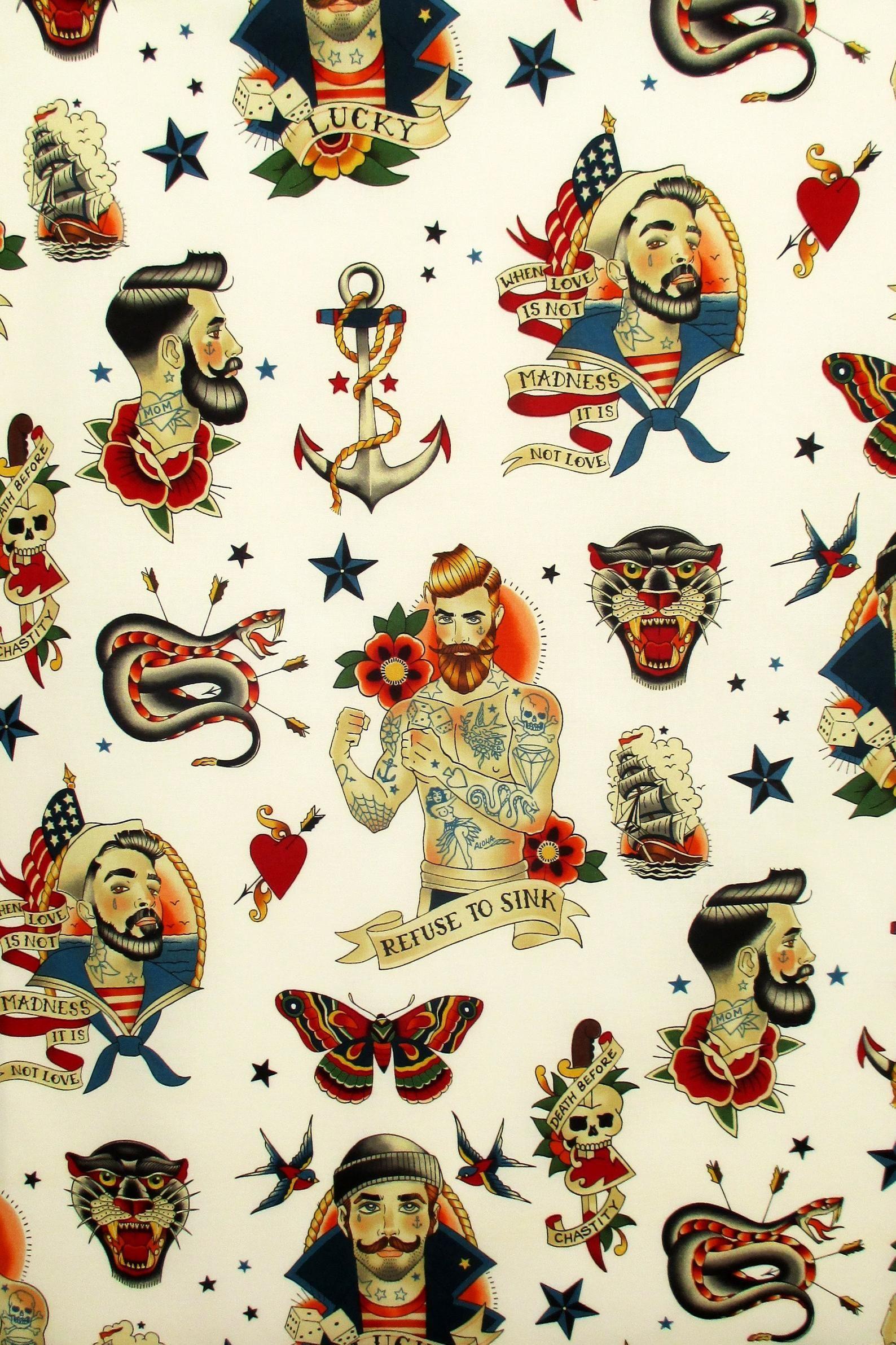 Fabric Anchors Away In Tea Nautical Sailor Tattoos Sailor Tattoos Sailor Tattoo Nautical Tattoo
