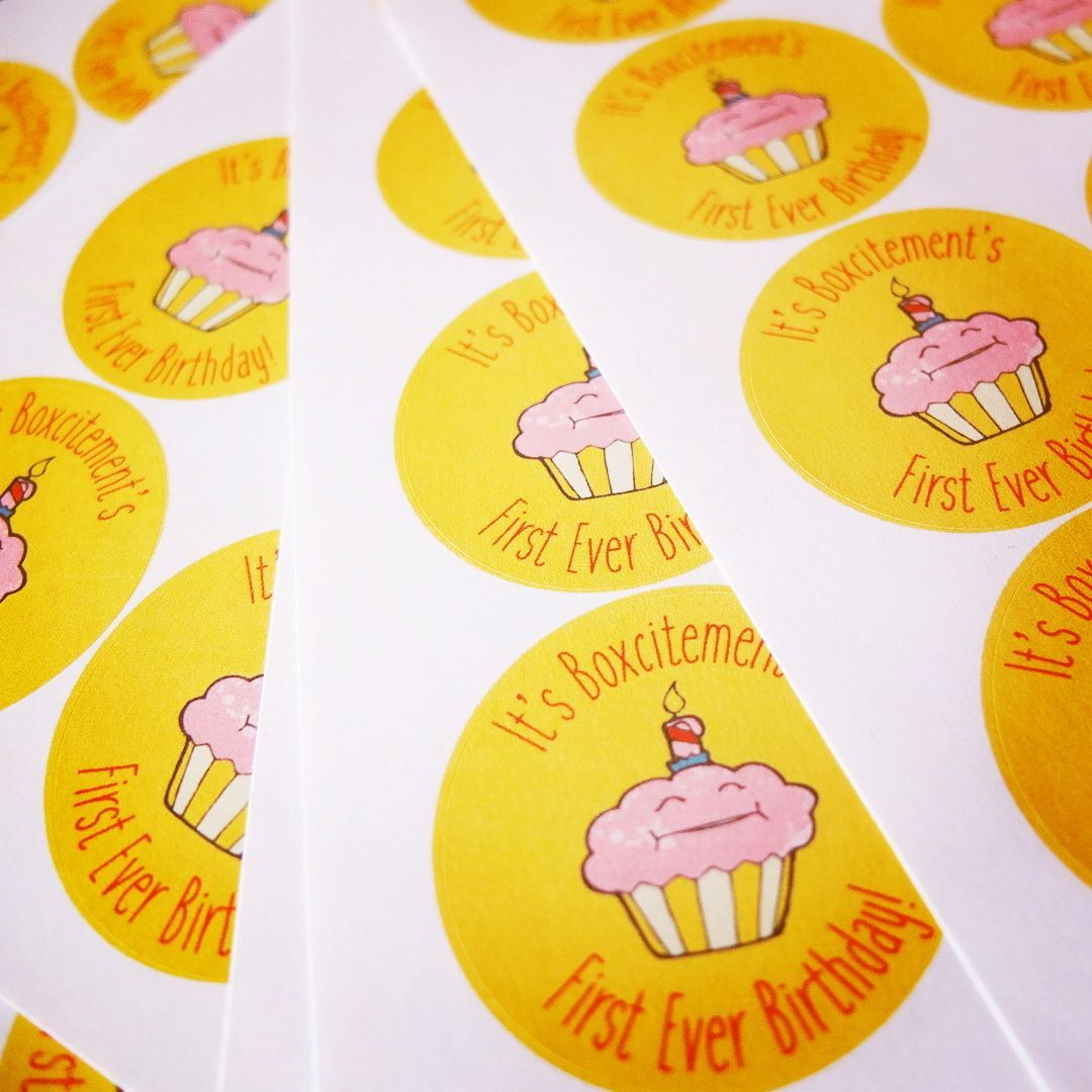 Birthday bonus stickers were popped on our parcels this