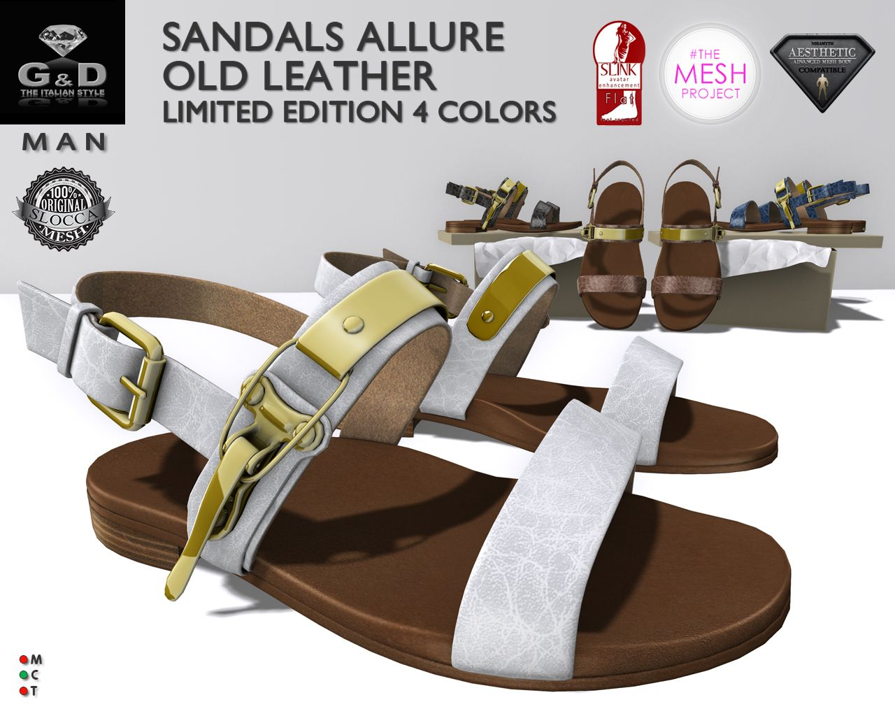Exclusive for MOF G&D MAN Sandals Flat Allure Old Leather LE adv http://maps.secondlife.com/secondlife/Campagnola/220/96/23