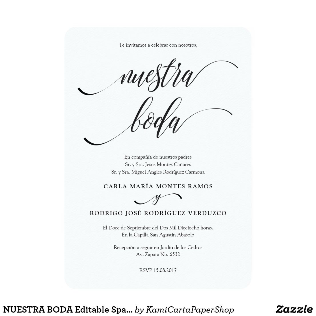 NUESTRA BODA Editable Spanish Wedding Invitation