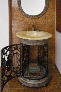 column vanity   Crystallized Honey Onyx & Wrought Iron Column Vanity