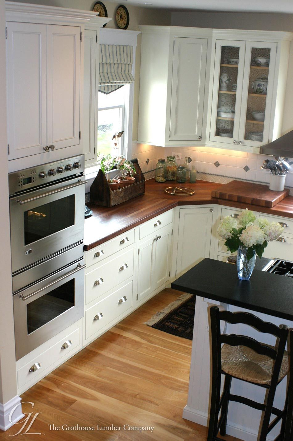 Light Floor, White Cabinets Dark Wood Countertops Custom American Cherry  Wood Countertop