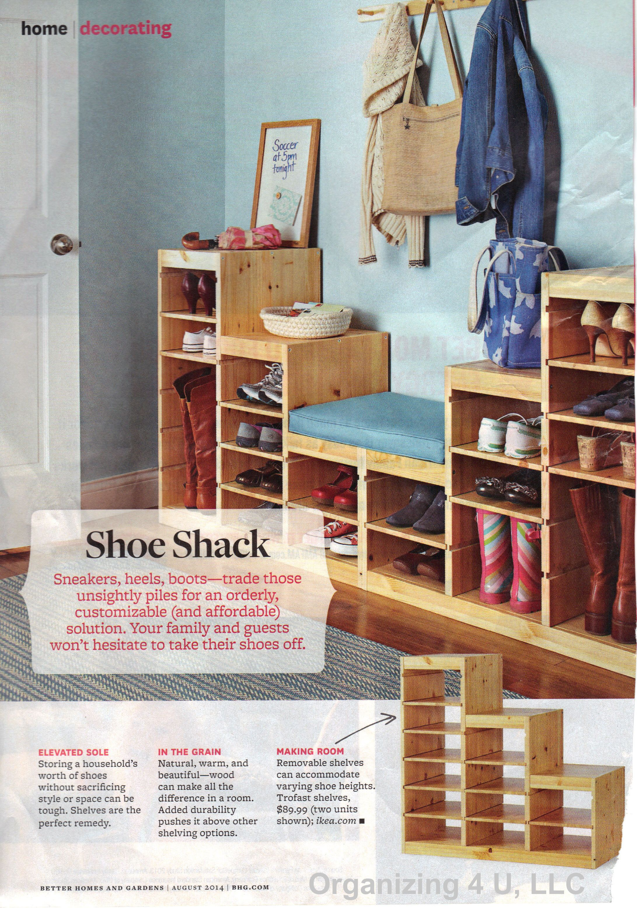 We found this system in the August 2014 issue of Better Homes & Gardens magazine, and thought it would also be good inspiration for a closet.