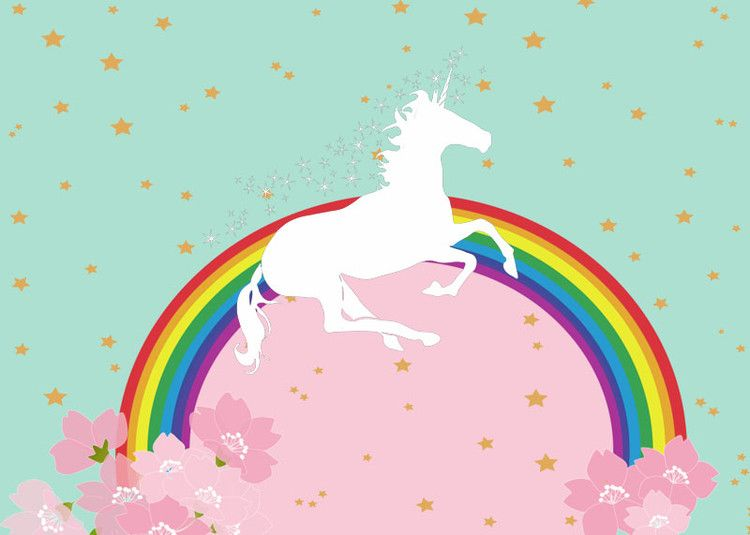 Pink Mint Theme Rainbow Unicorn Party Photography Backdrop Flower