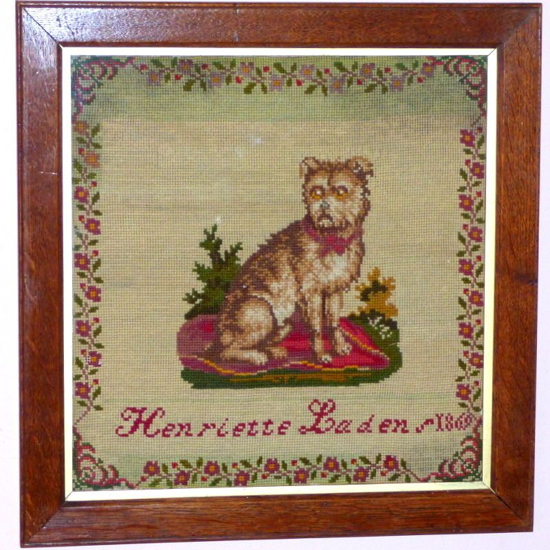 Victorian19th Century Woolwork Pictorial Sampler of a Seated Dog