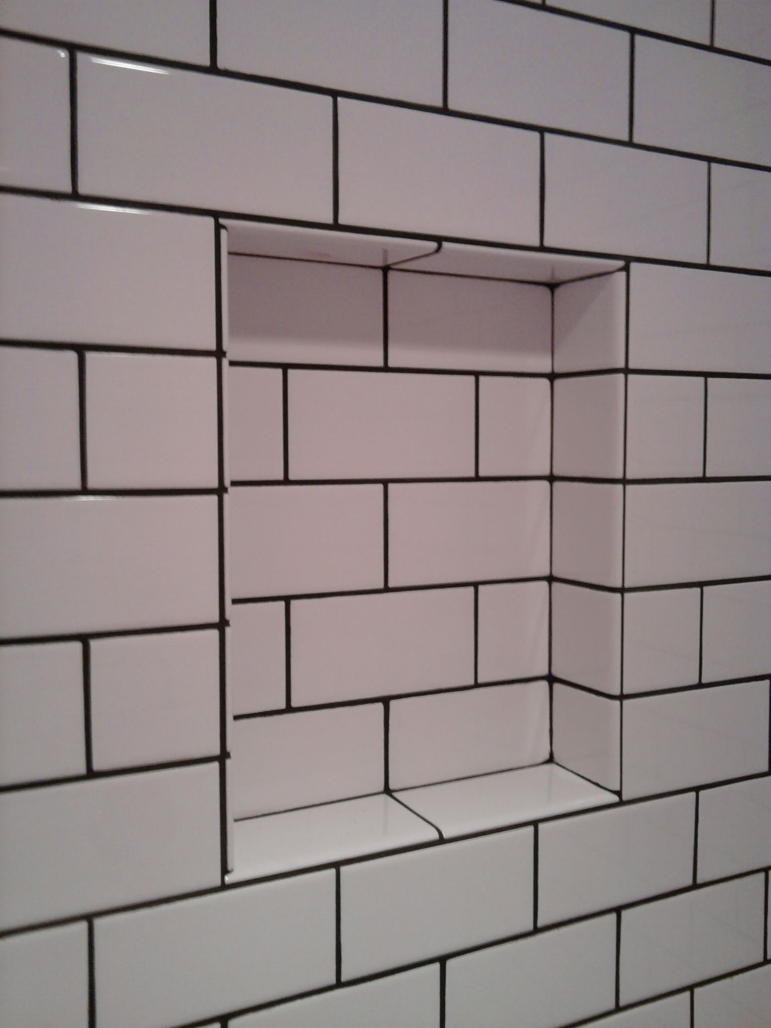 subway tile with tobacco brown grout old school