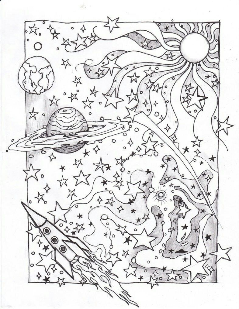 Psychedelic Sky Space Coloring Pages Detailed Coloring Pages Planet Coloring Pages