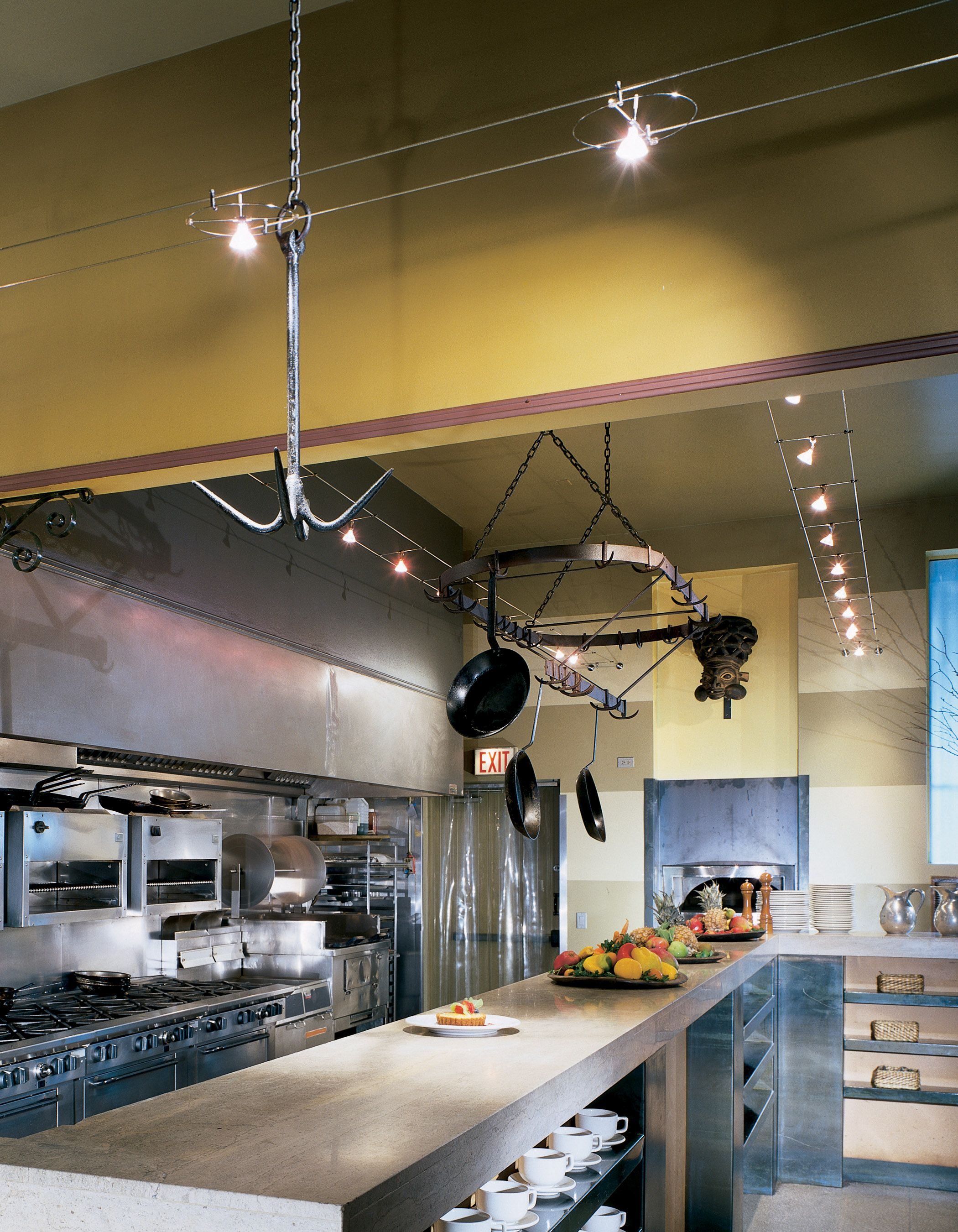 Cable Track Lighting Modern Kitchen