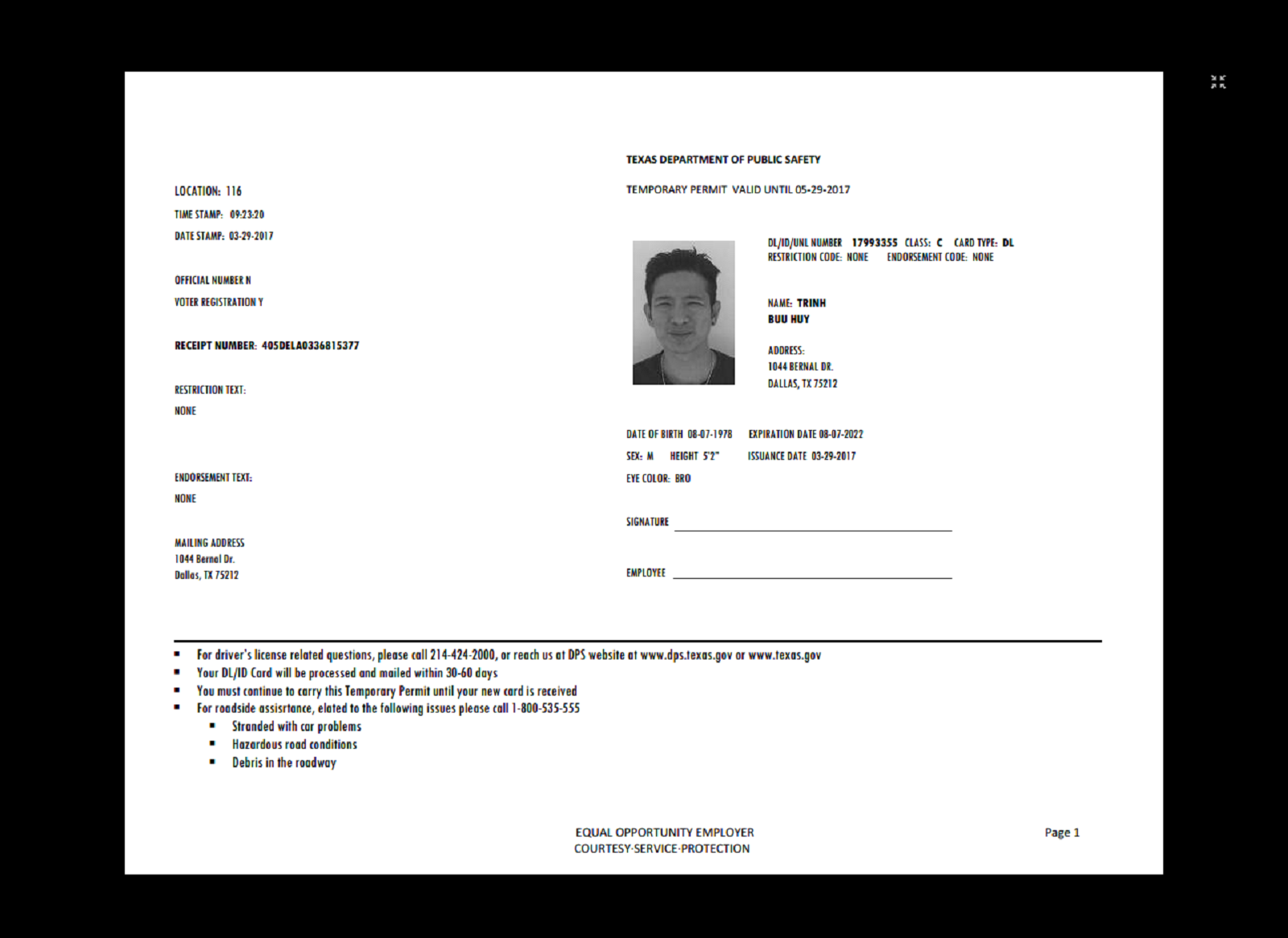 Texas Temp Driver's Permit, Template, Printable, Temporary