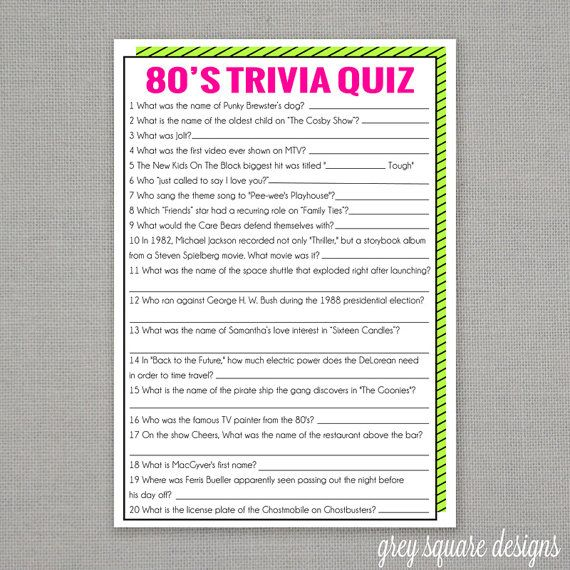 picture regarding Food Trivia Questions and Answers Printable named 80s Trivia Quiz Recreation Jeffs 40th Birthday inside 2019 80s