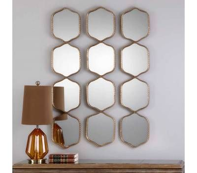 Uttermost Myriam Gold Twisted Iron Framed Hexagons Mirror Panel Gold Mirror Wall Mirror Wall Mirror Panels