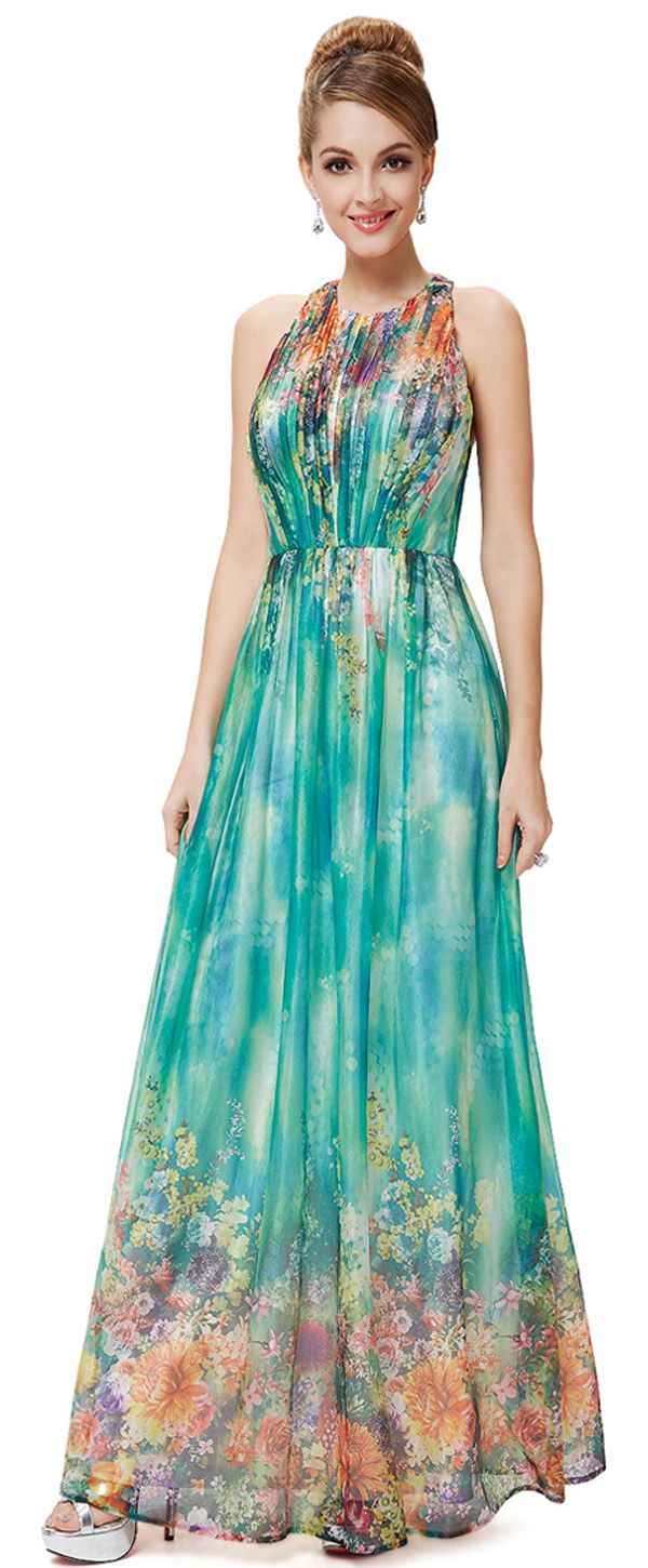 In Stock Marvelous Chiffon Halter Neckline A-line Prom Dresses With ...