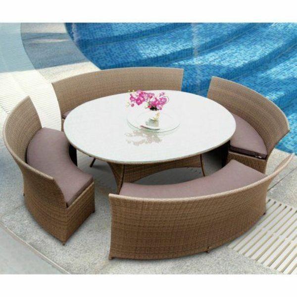 garten designideen patio gastronomie outdoor möbel rund form pool ... - Outdoor Patio Design Ideen