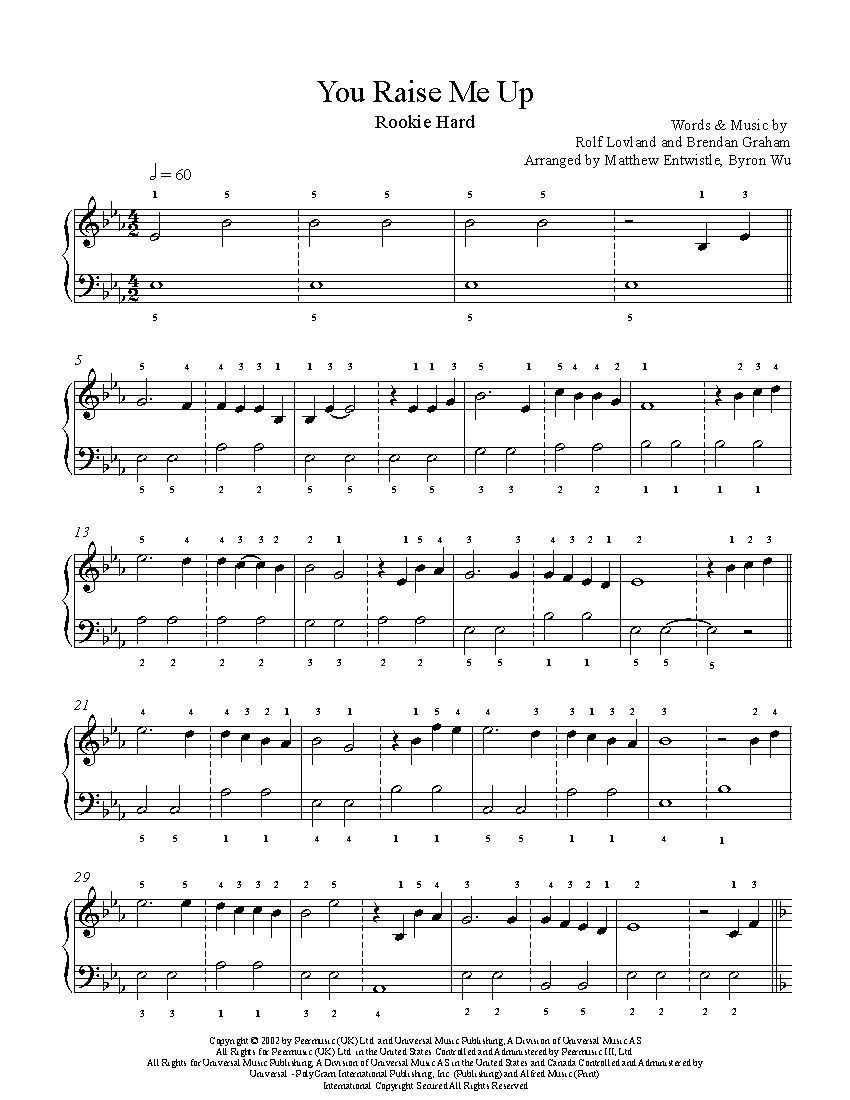You Raise Me Up By Josh Groban Piano Sheet Music Rookie Level