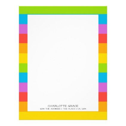 Bright Colorful Rainbow Personalized Letterhead pattern