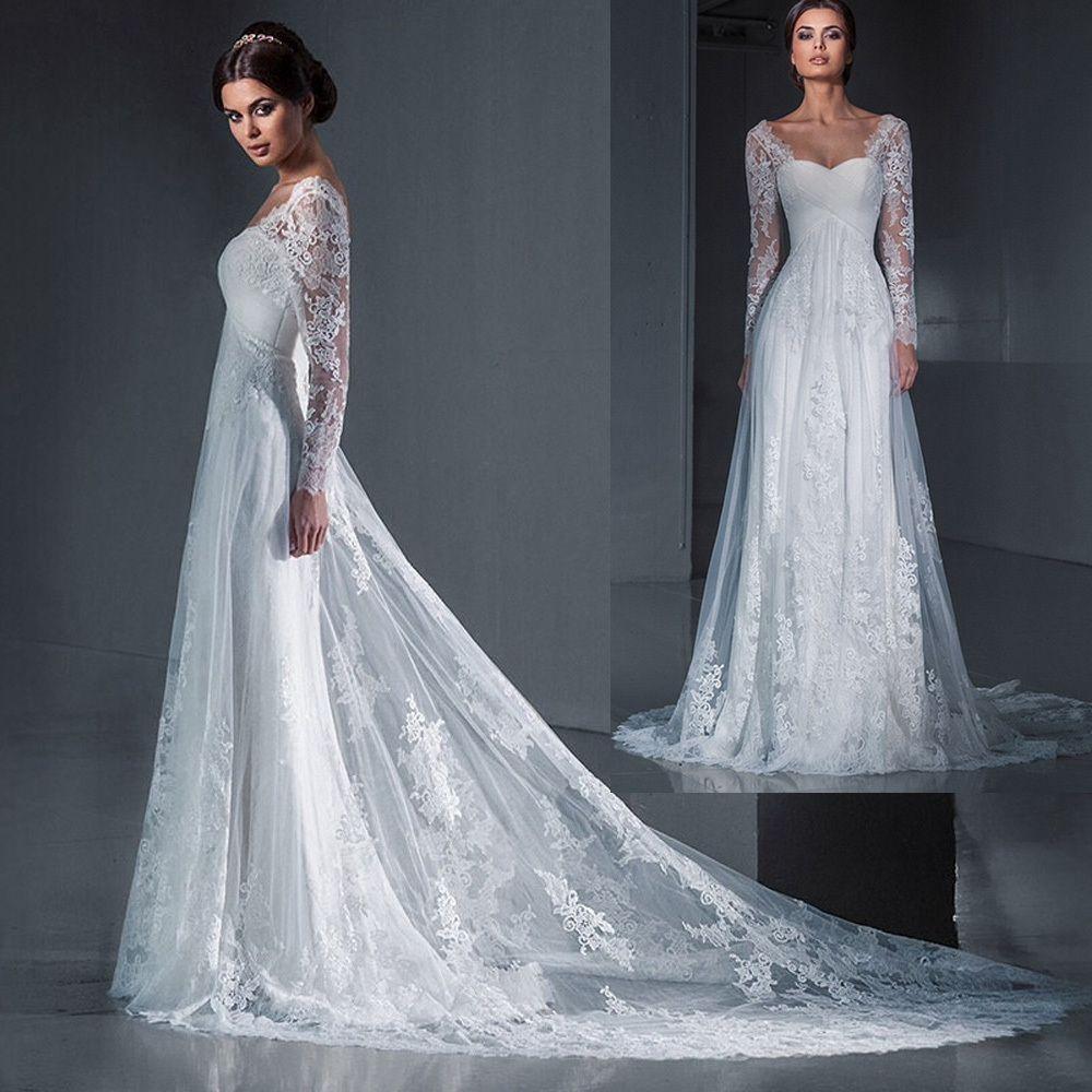 A Line Long Sleeve Wedding Dress Buy