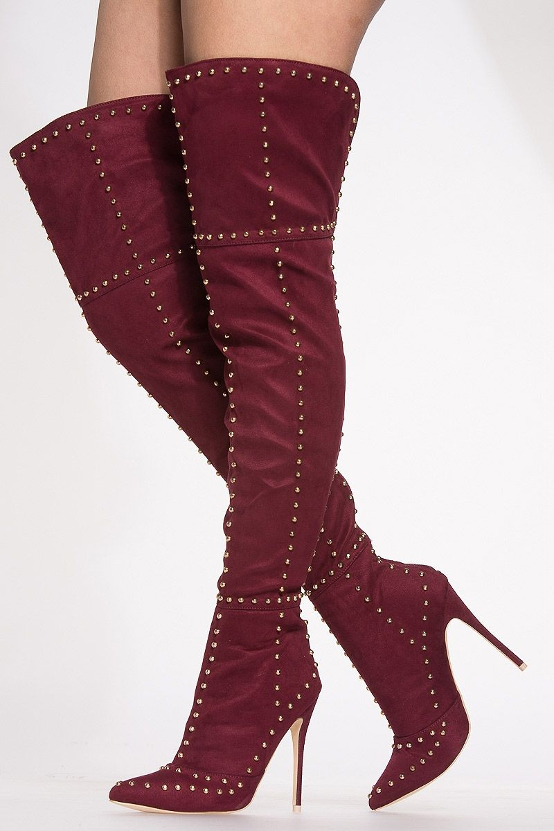 5dc69766be04 Wine Studded Faux Suede Pointed Toe Boots   Cicihot Boots Catalog women s  winter boots