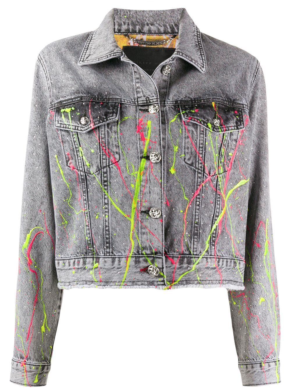 Philipp Plein Paint Splatter Denim Jacket Farfetch In 2020 Denim Jacket Diy Denim Jacket Denim Jacket Diy Paint [ 1334 x 1000 Pixel ]