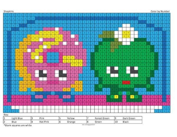 Megapixel Characters Coloring Squared Shopkins Colouring