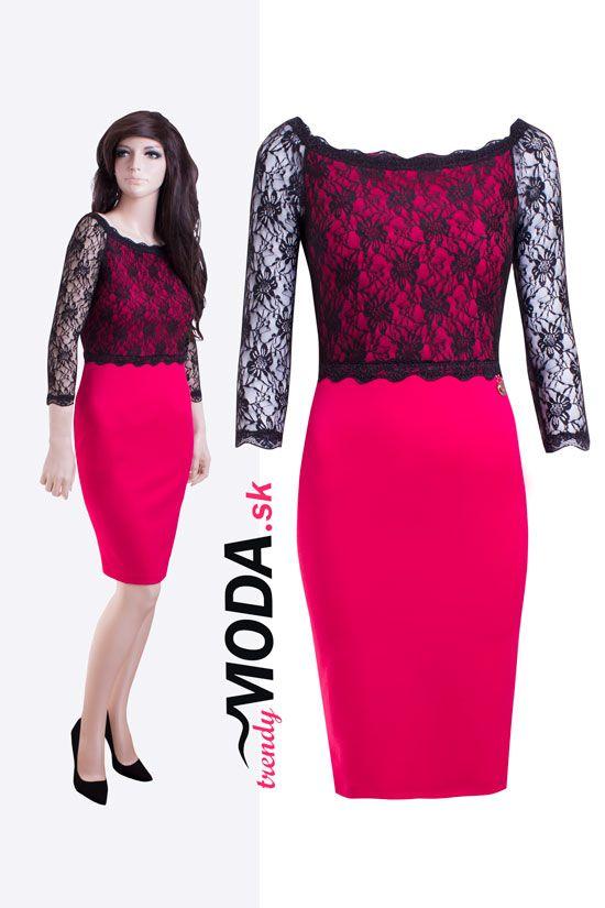 a0ce175082c7 Elegantné cyklamenovo - ružové spoločenské šaty kombinované s čiernou  krajkou.-trenydmoda.sk