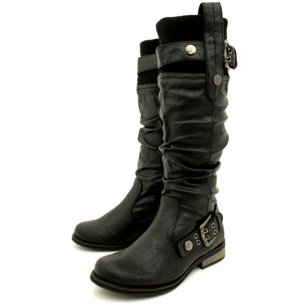 fishingrodde.cf High quality genuine leather boots square heel rivets black fashion sexy women motorcycle knee high boots shoes.