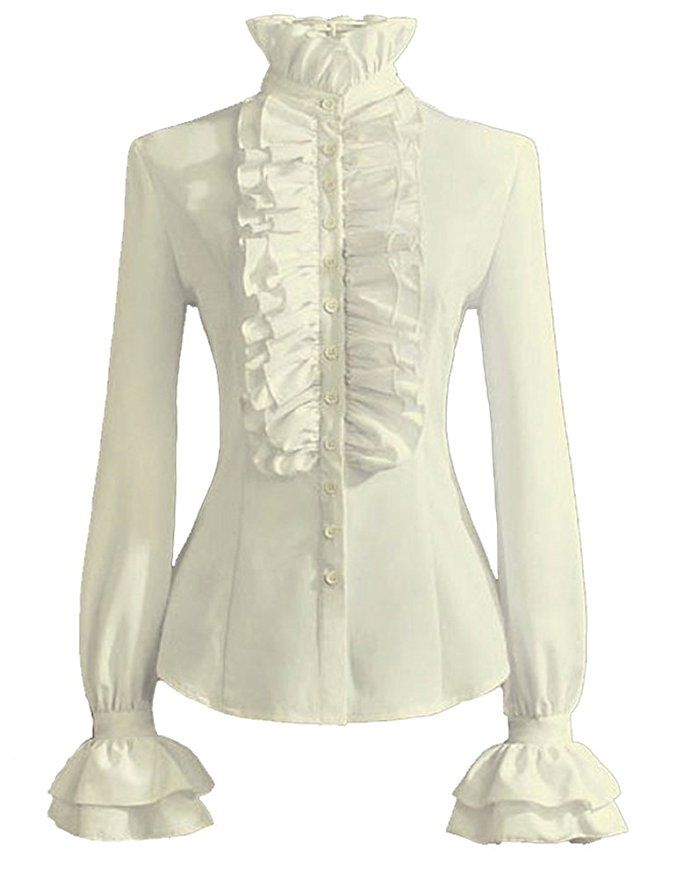 3b37c55064a236 Victorian Style Blouses, Tops, Jackets PrettyGuide Women Stand-Up Collar  Lotus Ruffle Shirts Blouse AT vintagedancer.com