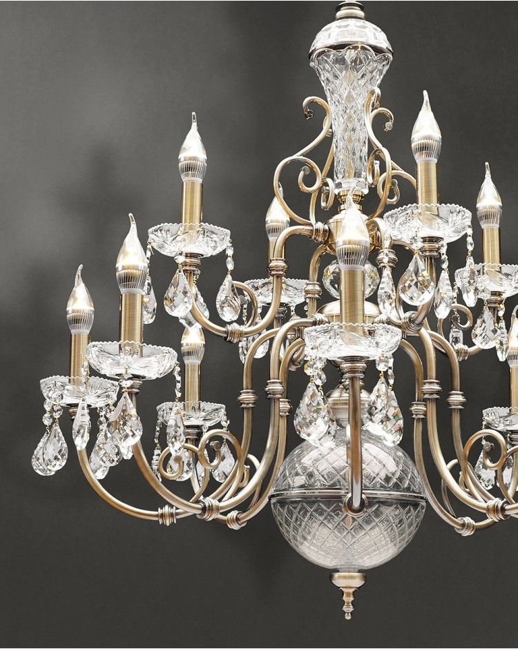Hortense Traditional Antique Brass Twelve Branch Chandeliers Crystal Teardrops Light