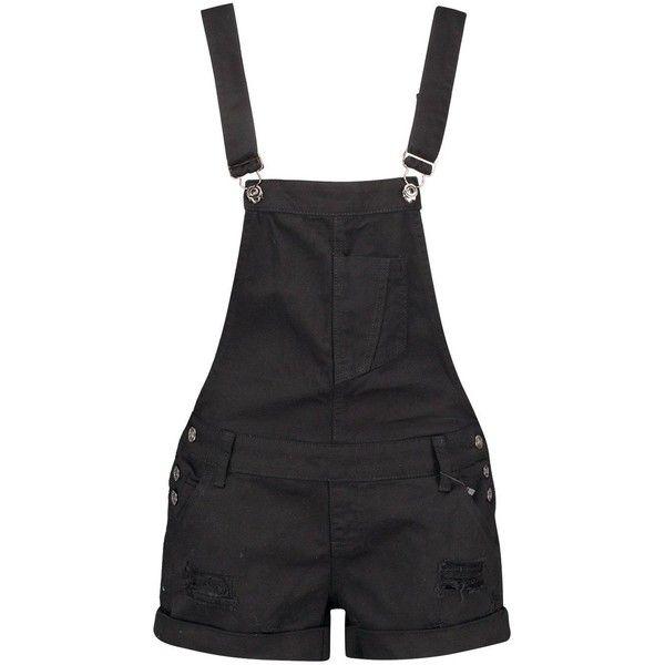 Boohoo Blue Tessa Black Denim Distressed Dungaree Shorts ($35) ❤ liked on Polyvore featuring shorts, bottoms, denim shorts, ripped denim shorts, micro denim shorts, short shorts and sequin shorts