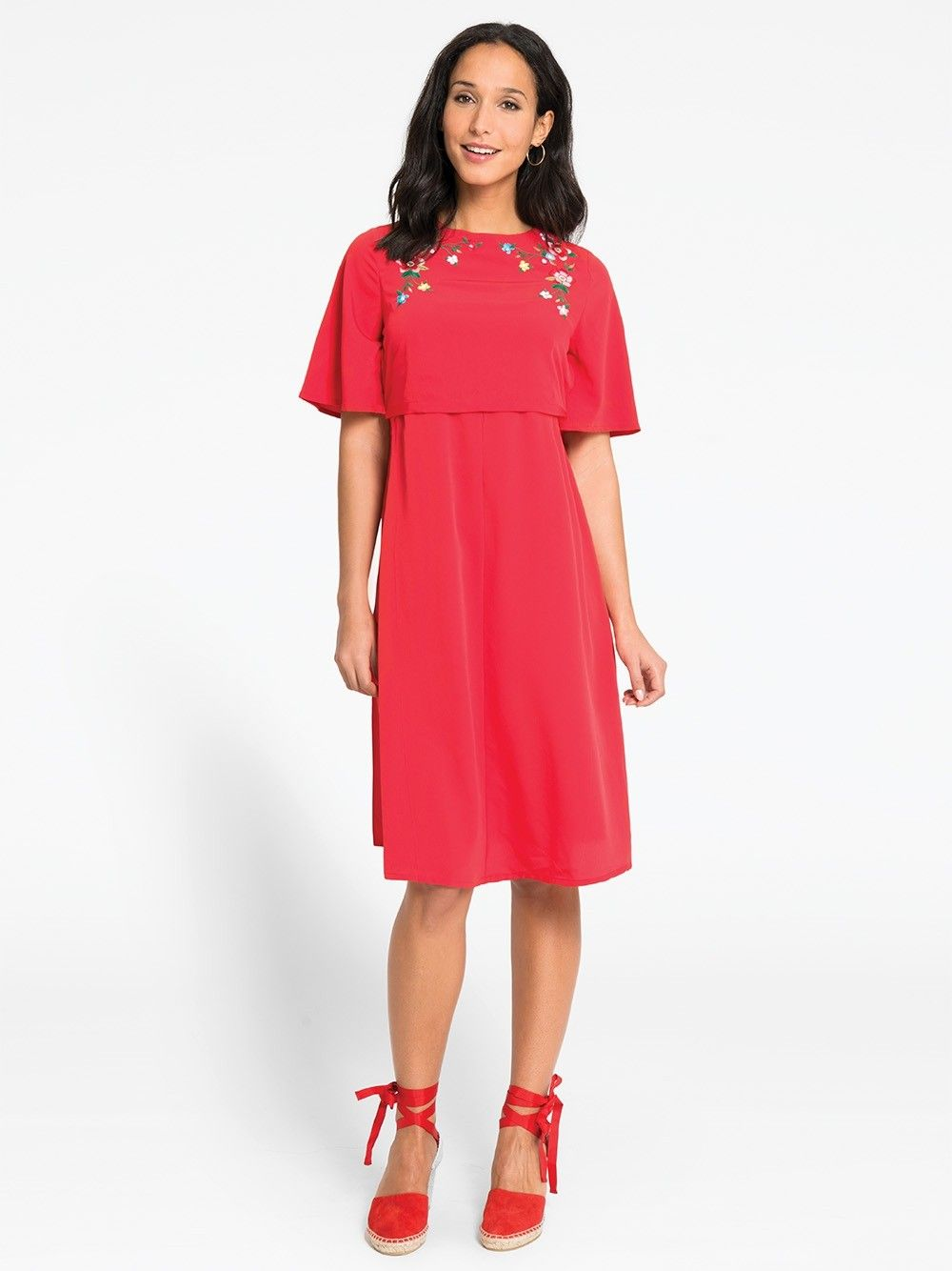 20e31bde8ee22 Red Embroidered Maternity & Nursing Dress | For my body | Maternity ...