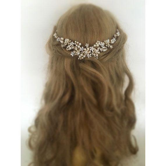 Grecian Champagne Wedding Hair Vine Bridal by UniqueJewelryLLC