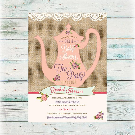 Printable Tea Party Baby Shower Invitation by BeyondDigital - tea party invitation