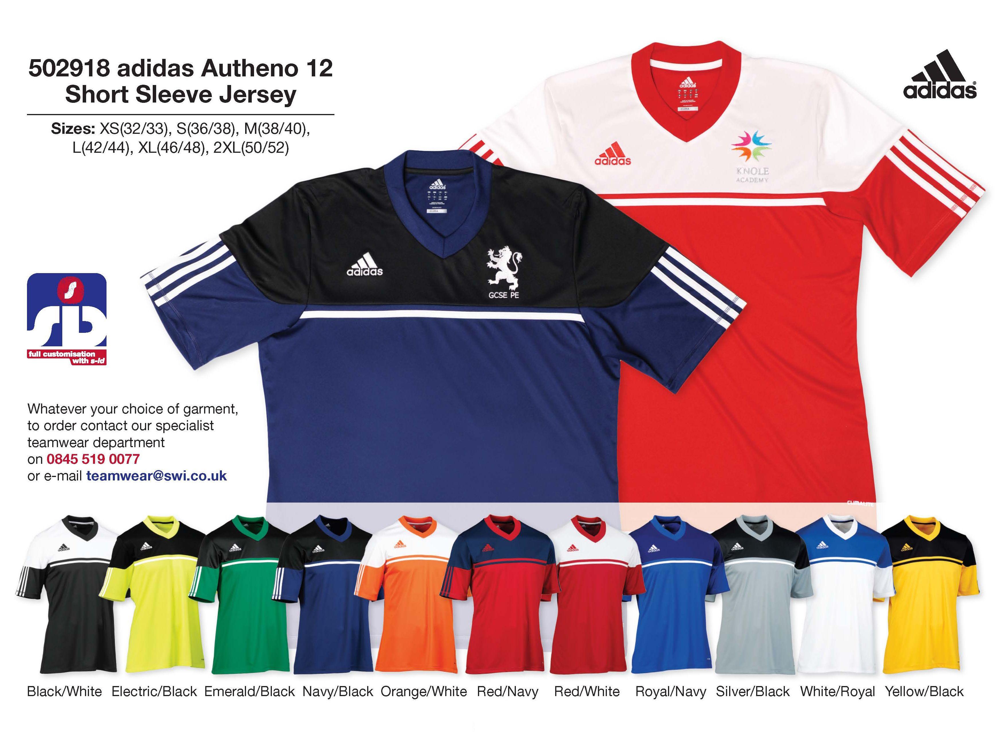 adidas autheno 12 short sleeved jersey adidas teamwear www swi co