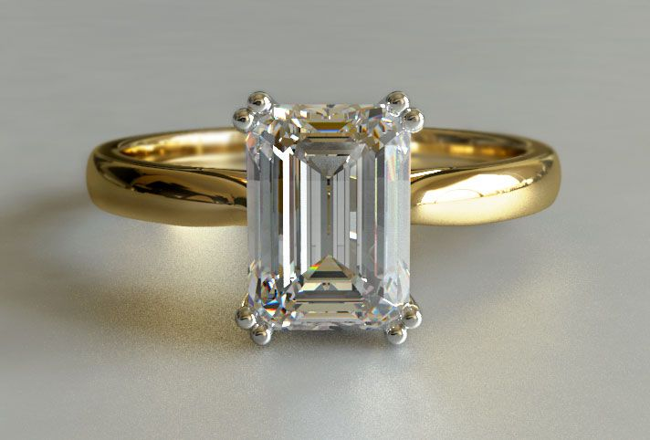 My Fav Emerald Cut Diamond Solitaire Engagement Ring In Yellow Gold