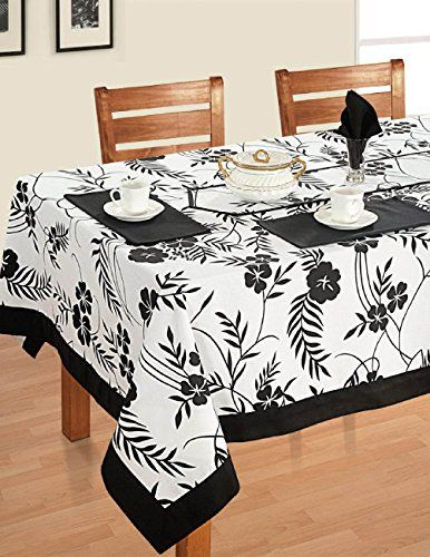 Amazon Com Modern Black And White Square Cotton Tablecloth 60 X 60 Cover For 4 Seat Table Designer Floral Dining Table Cloth Table Cloth Table Linens
