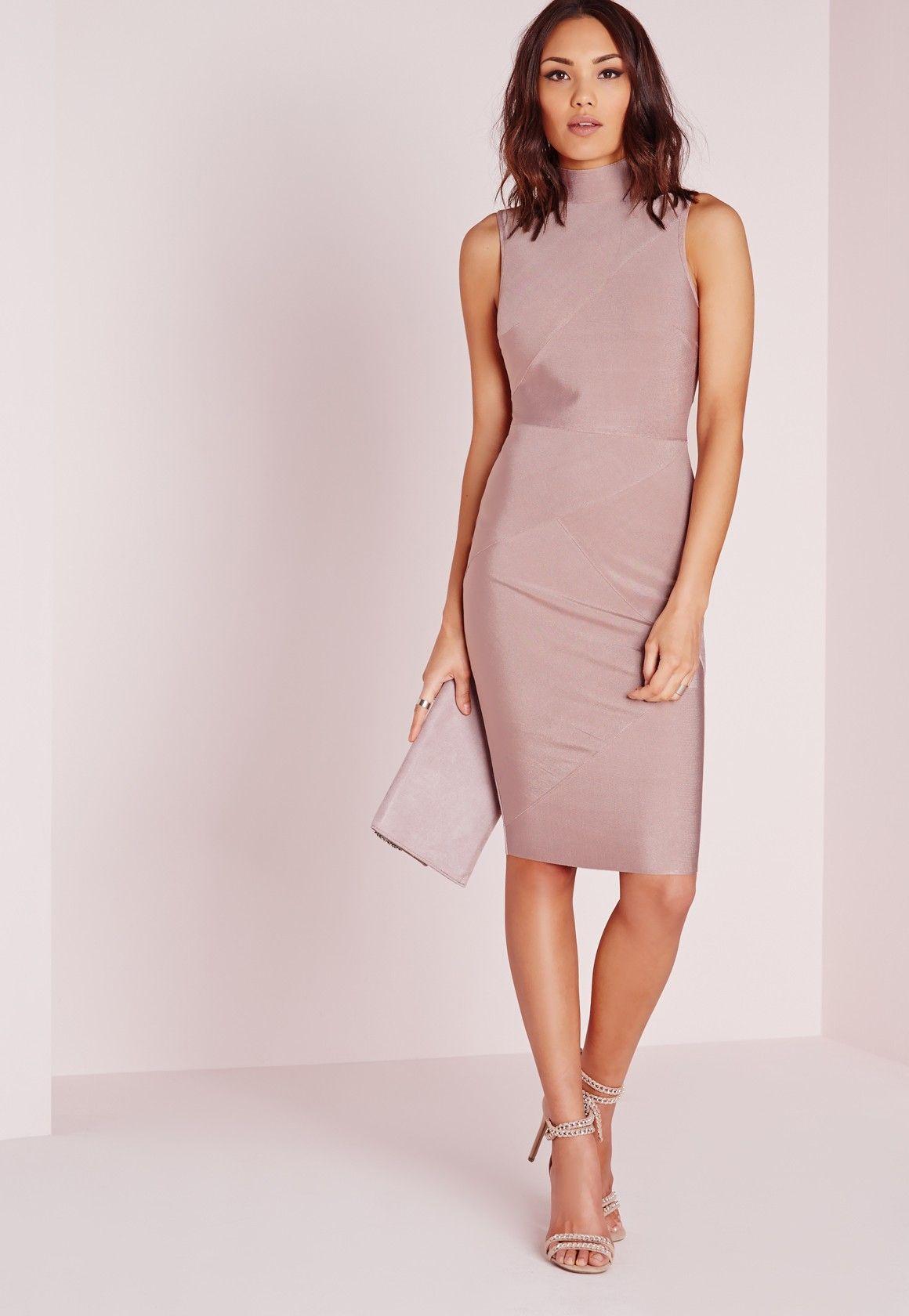 Missguided - Premium Bandage High Neck Midi Dress Mauve | Vestes ...