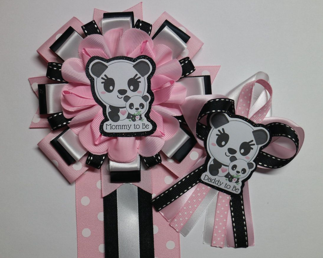 Pink baby Panda Its a girl, panda bear baby shower, mommy to be corsage pin