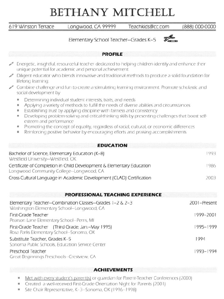 resume examplesindustry and job title  teacher resume