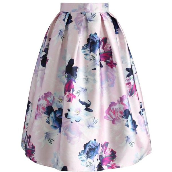 Chicwish My lovely Bouquet Printed Midi Skirt (122.825 COP) ❤ liked on Polyvore featuring skirts, pink, colorful skirts, calf length skirts, flower midi skirt, pink midi skirt and pink skirt