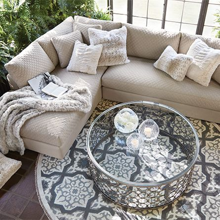 Naomi 48 Round Coffee Table In Pewter Rugs In Living Room